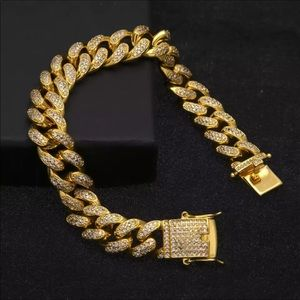 New 18 k yellow gold Cuban iced out bracelet